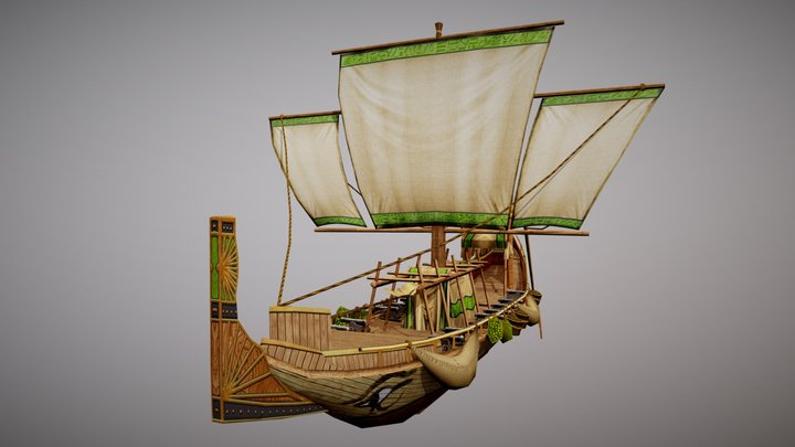 Egyptian fantasy Ship 3D Model