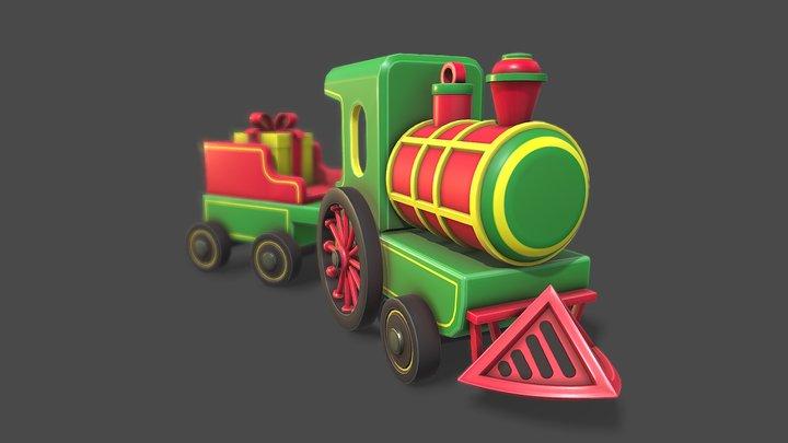 Stylized Toy Train 3D Model