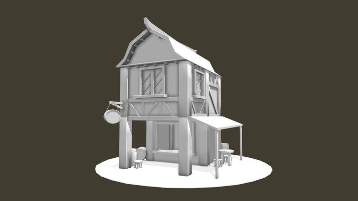 Free concept sketch of a cartoon fantasy tavern 3D Model