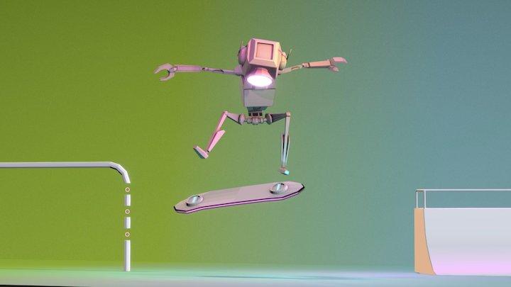 Skating Robot - Lowpoly 3D Model