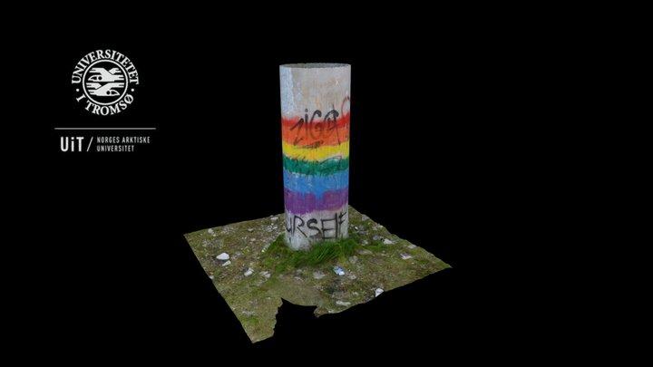 Rainbow Flag - Concrete Pillar, Kirovsk, Russia 3D Model