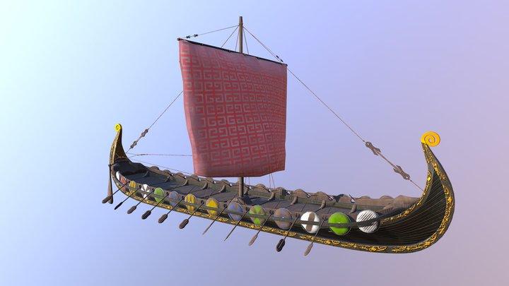 Oseberg Viking Ship 3D Model