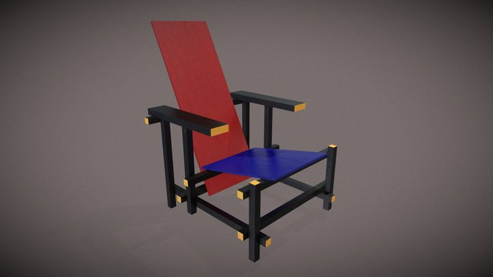 Red-Blue Chair (Gerrit Rietveld,1918) 3D Model