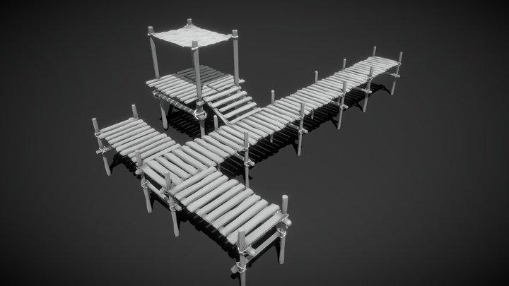 Low-Poly Sea Dock 3D Model