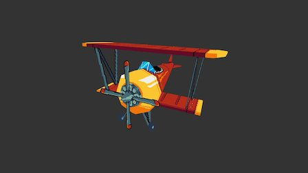 Pixel Art - Propellor Plane 3D Model