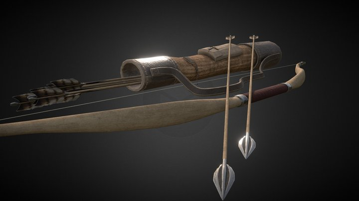 Bow and Quiver 3D Model