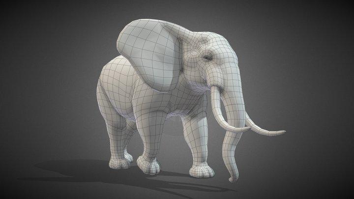 Elephant Base Mesh 3D Model
