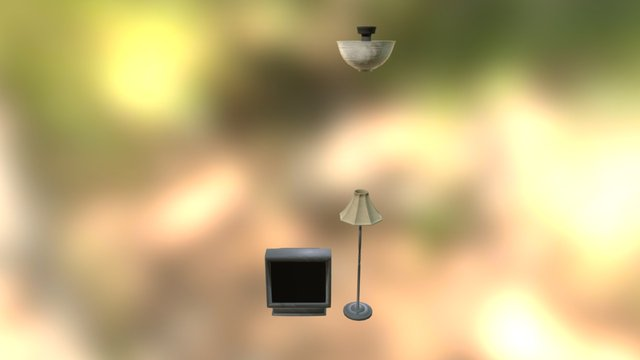 Lampy i telewizor 3D Model