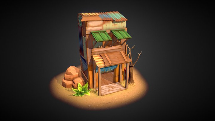 Lowpoly Wasteland Building 3D Model