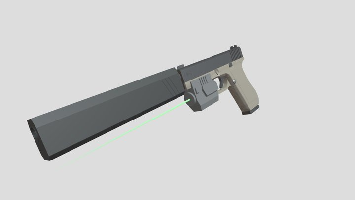 Glock 17 Modified Low Poly 3D Model
