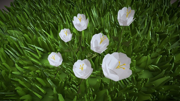 Low Poly Grass and Flower 3D Model