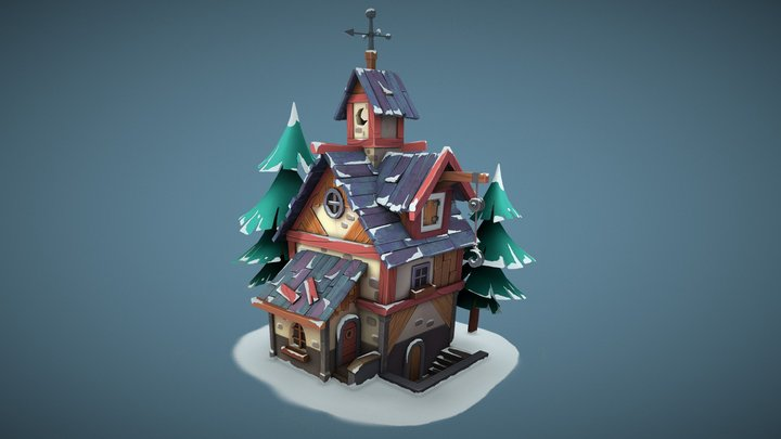 House winter (Hand-painting) 3D Model