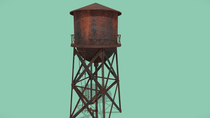 old rusty water tower (PBR - Game ready) 3D Model