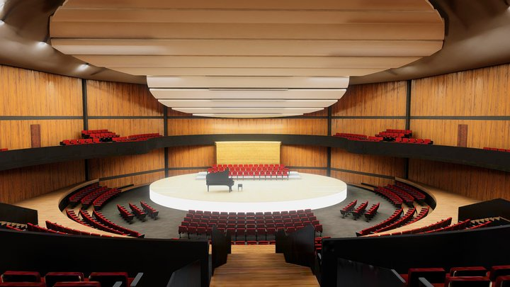 Concert Hall | Amphitheater VR Baked + Max Scene 3D Model