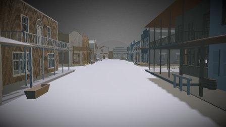 western town crossroads 3D Model