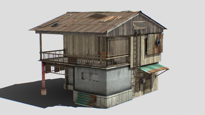 Old   House   Wooden   Enterable   Rusty 3D Model