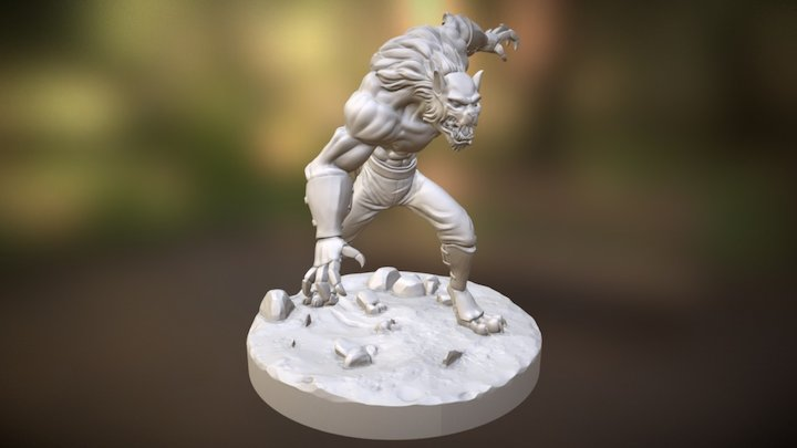 Wolfman Sculpture 3D Model