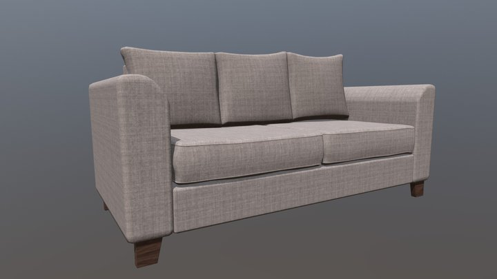 Sofa grey fabric 3D Model