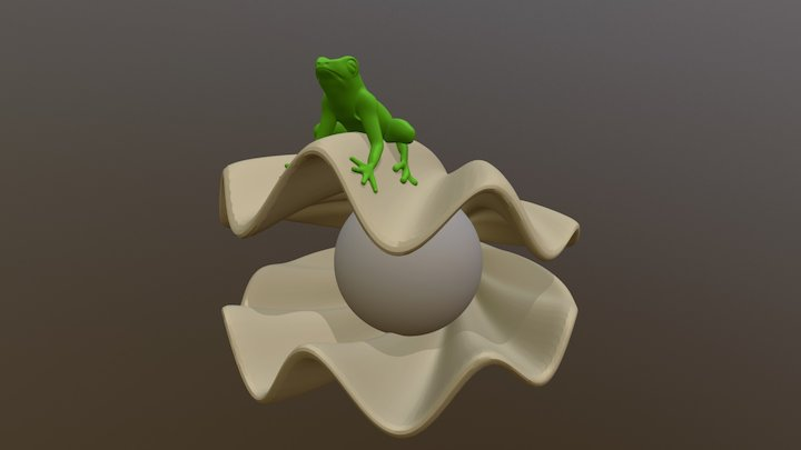 Frog on Clam 3D Model