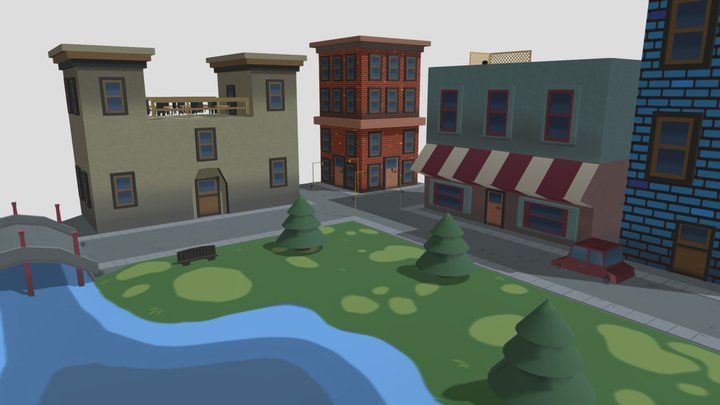 Low Poly Stylized City Block (Bailey Dennis) 3D Model
