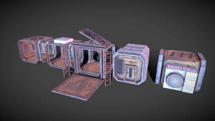 Sci-Fi Modular Stack Asset Pack 3D Model