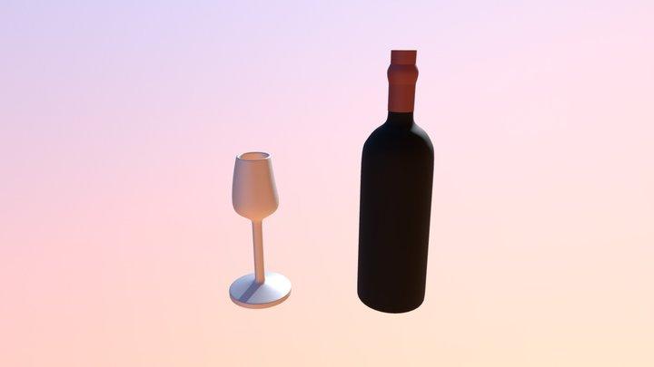 Botella y Copa 3D Model