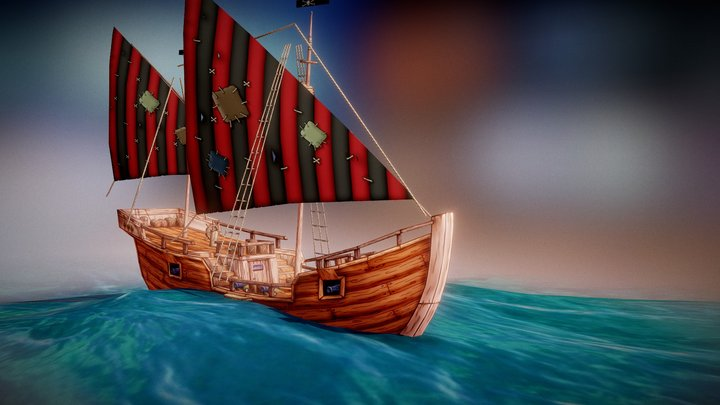 "Pirate Caravel ""Sparrow"" 3D Model"