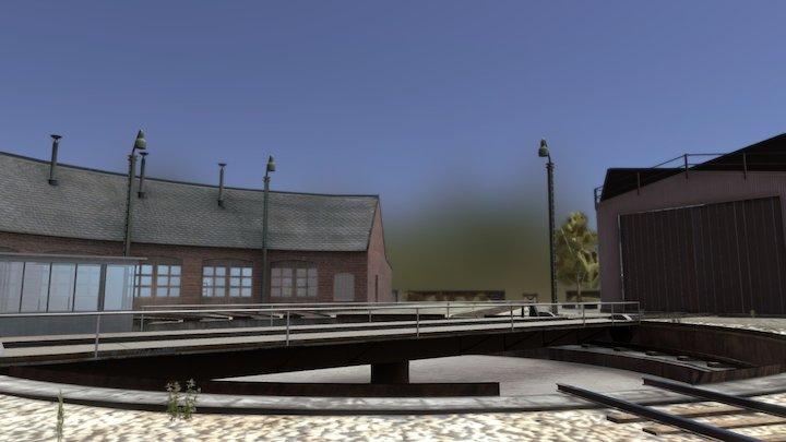 Turntable Train Animation 3D Model