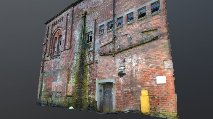 Derelict Brick Industrial Fascade Scan #VR 3D Model