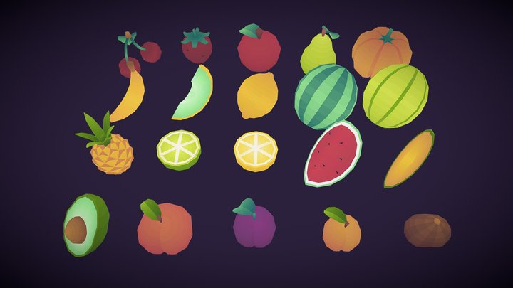 Low poly Fruits Pack 3D Model