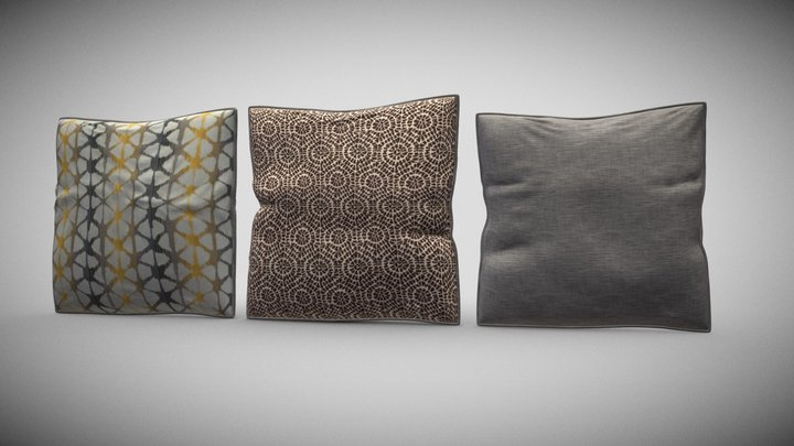 Decor Pillow Throw SetA 3D Model