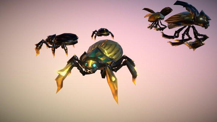 Egypt Beetle Set - Handpainted Lowpoly 3D Model