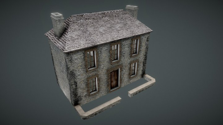 French House-Normandy style. WW2 game 3D Model