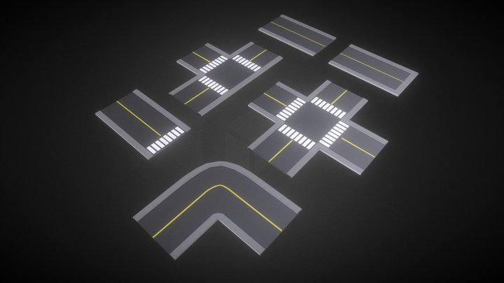 Modular Roads (Low Poly Style) 3D Model