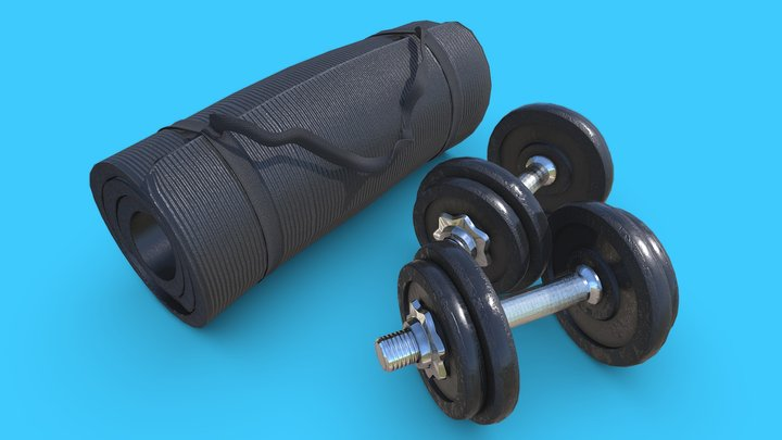 Dumbbells and Roll Mat set - Store Item 3D Model