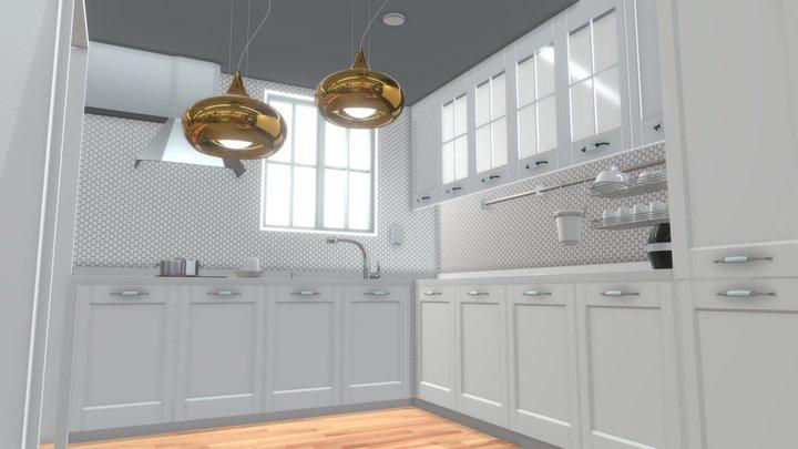 A soft single-tone kitchen 3D Model