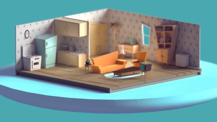 Vintage living room 3D Model