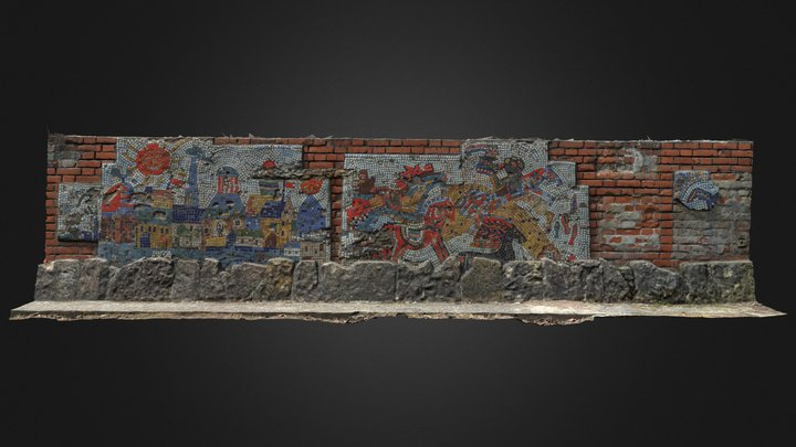 Mosaic covered wall 1 3D Model