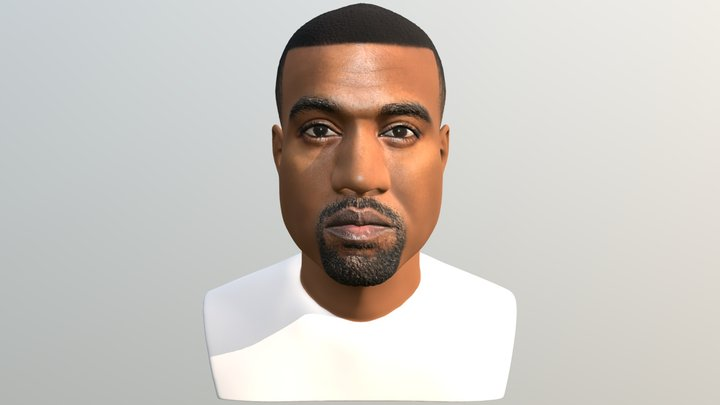Kanye West bust for full color 3D printing 3D Model