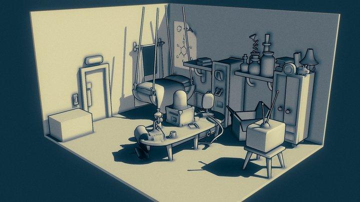 Lab Room Toon Shading 3D Model