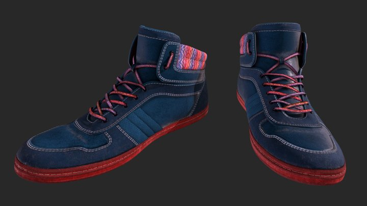 Used Blue Shoes 3D Model