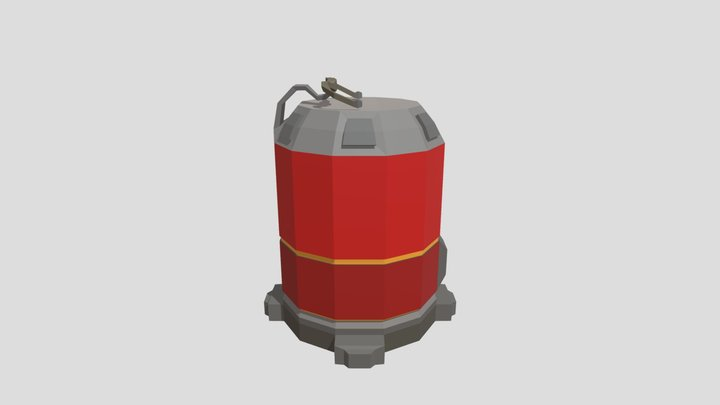 Low-Poly Explosive Barrel 3D Model