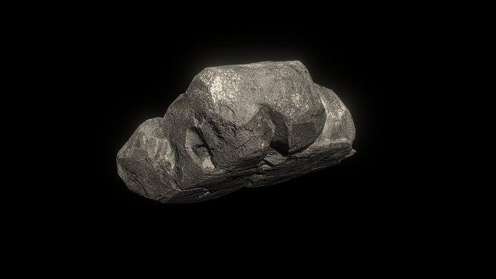 Cracked Gray Rock 3D Model