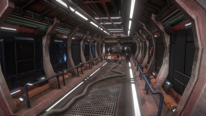 Futuristic Hallway with Patrolling Robot 3D Model