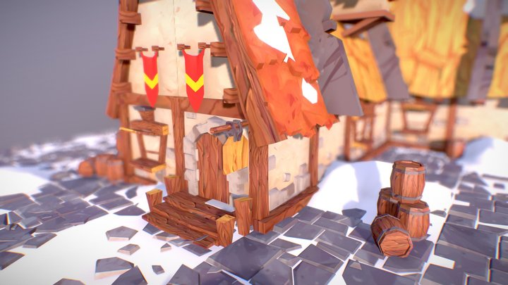 Viking's Snowy Tavern 3D Model