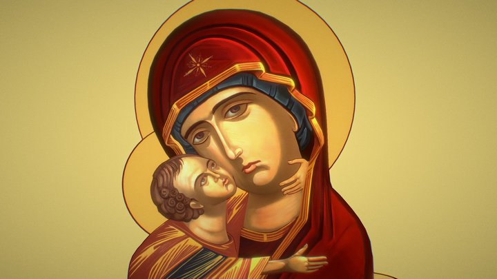 Mother of God Virgin Mary and Baby Jesus Christ 3D Model