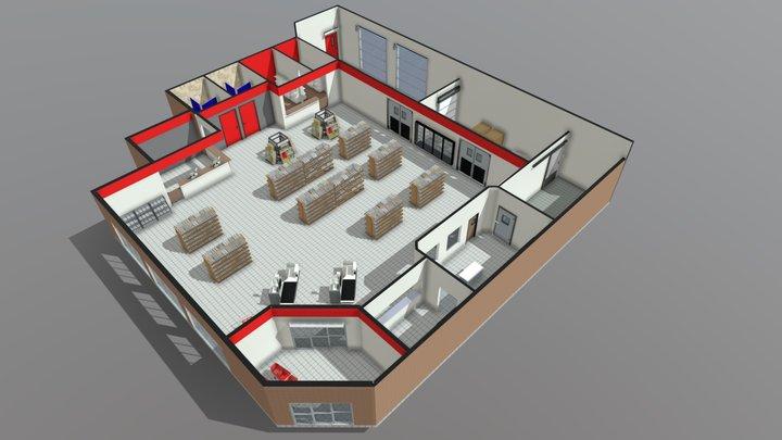 Supermarket Floor Plan 3D Model