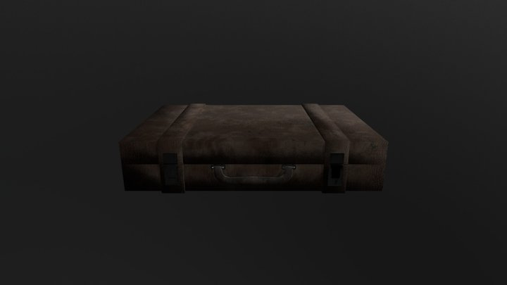 Brown leather old suitcase/briefcase 3D Model