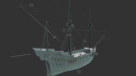 16th-century Portuguese Nau (南蛮船 European Ship) 3D Model