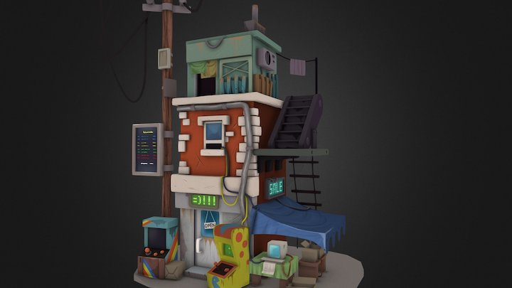 Post apocalyptic building 3D Model